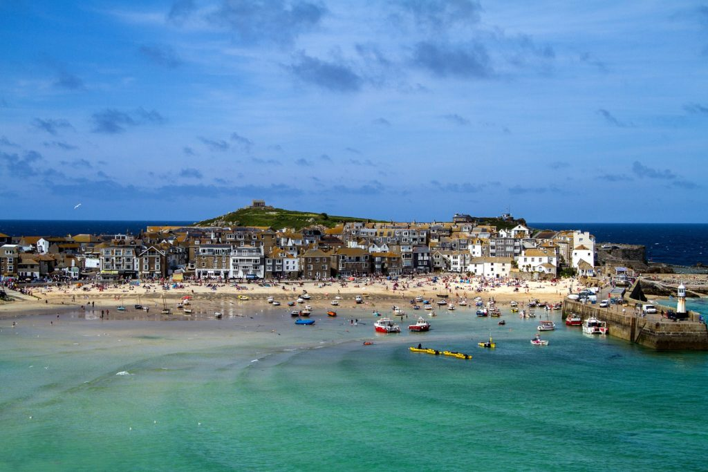 St Ives harbour, beach and town on a sunny day